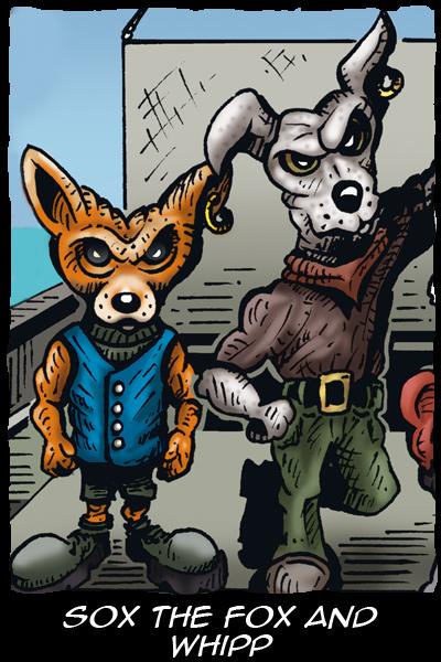 Kory - Flight of the Kiwi - Characters - Sox the Fox and Whipp